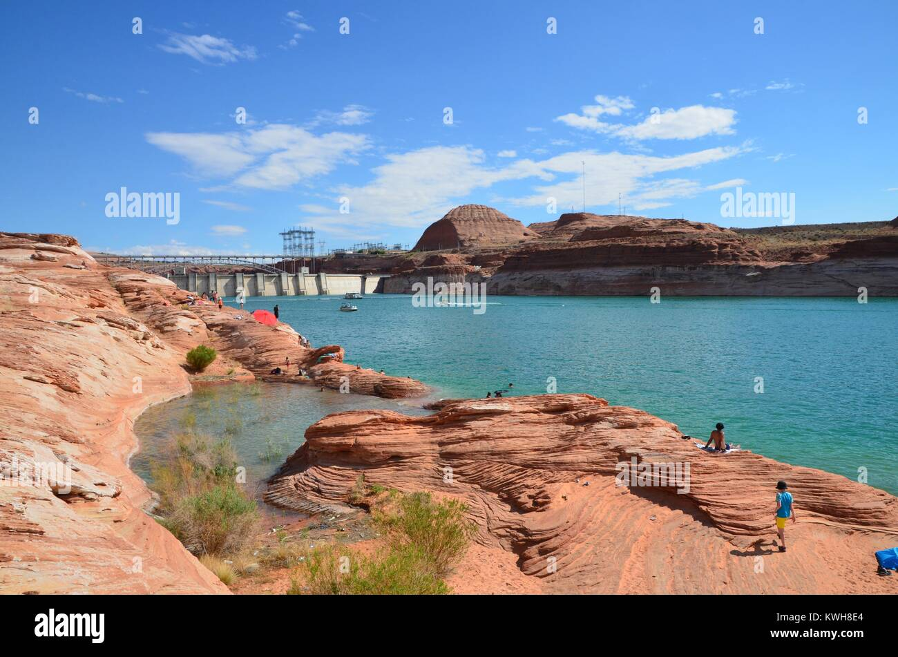 people enjoying the water at lake powell on a sunny arizona day Stock Photo