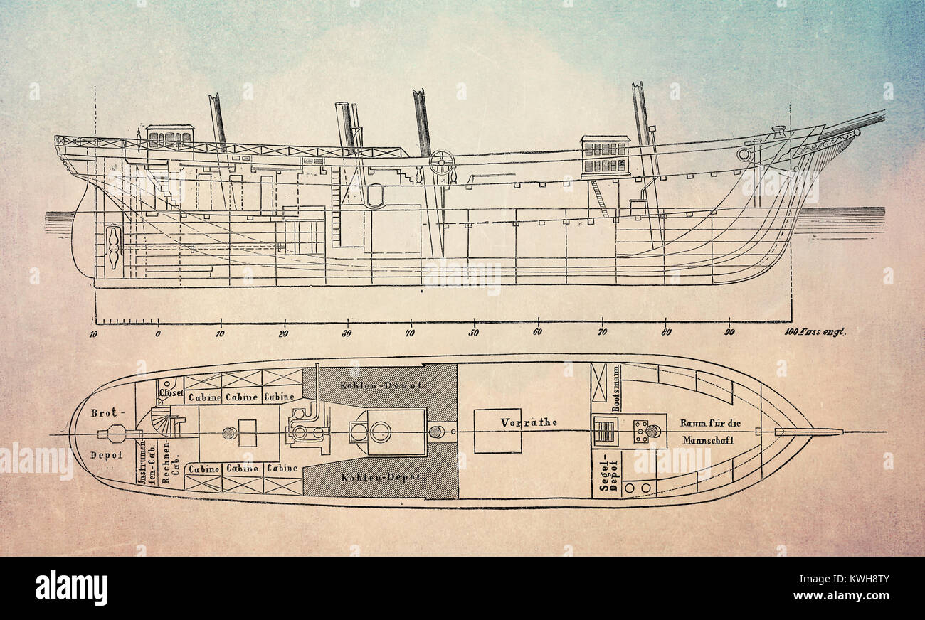 Ship's construction plans of Austro-Hungarian three-masted schooner Tegetthoff  for the North Pole expedition - Stock Image
