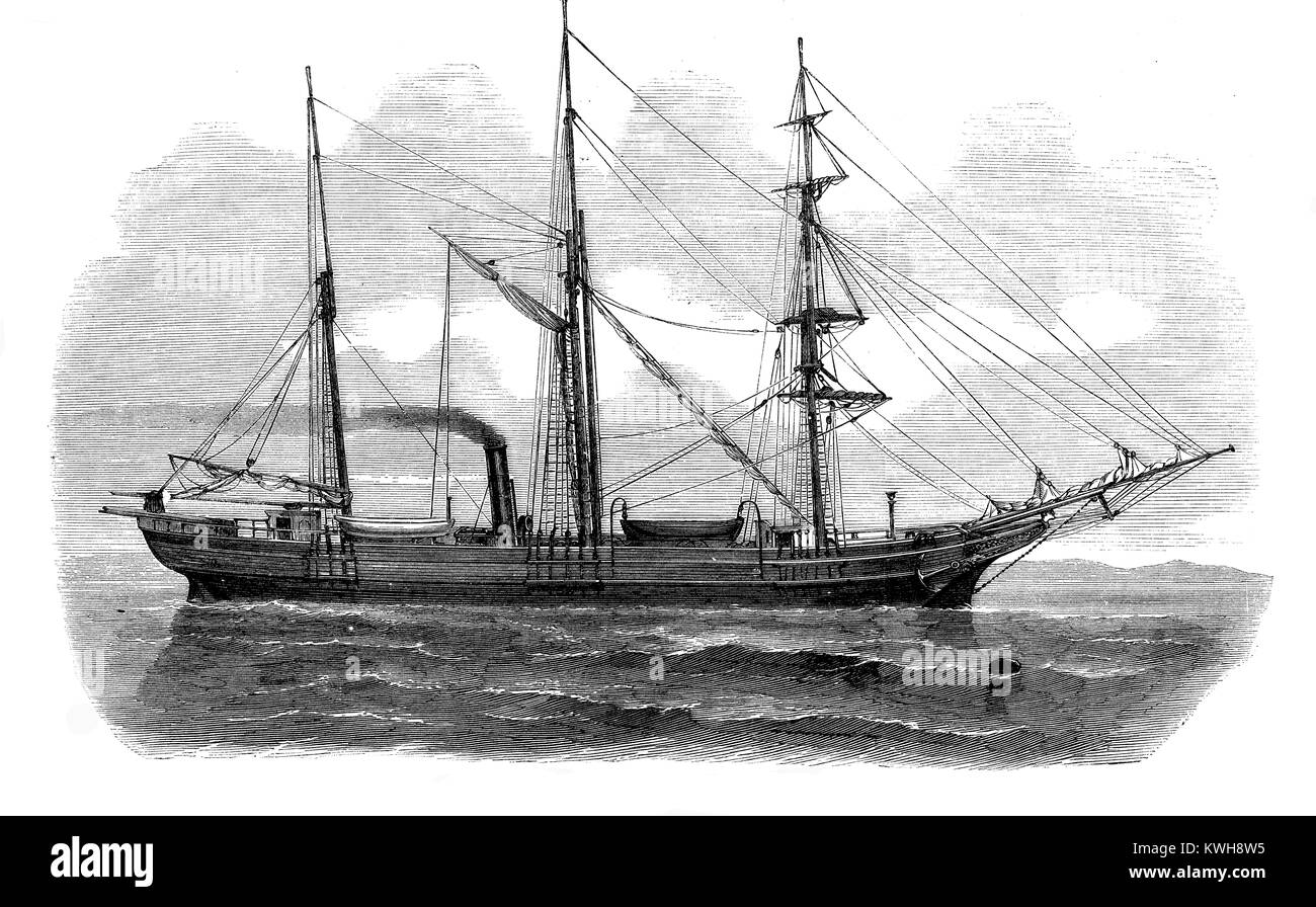 Vintage engraving of Austro-Hungarian three-masted schooner Tegetthoff  to the North Pole expedition - Stock Image