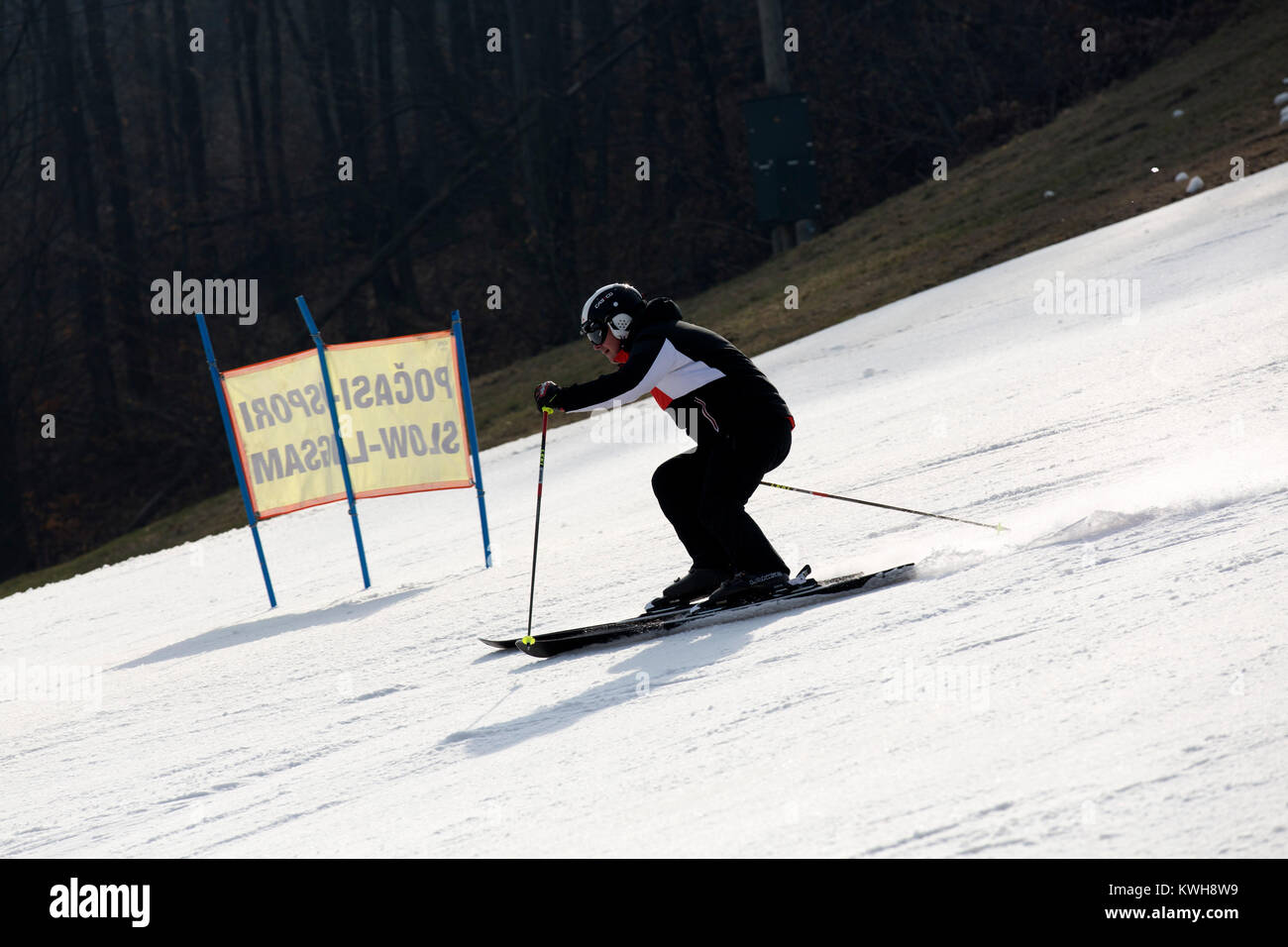 Skiing on a piste at the Maribor Pohorje Ski Resort near Maribor, Slovenia. The resort hosts the Golden Fox ski - Stock Image