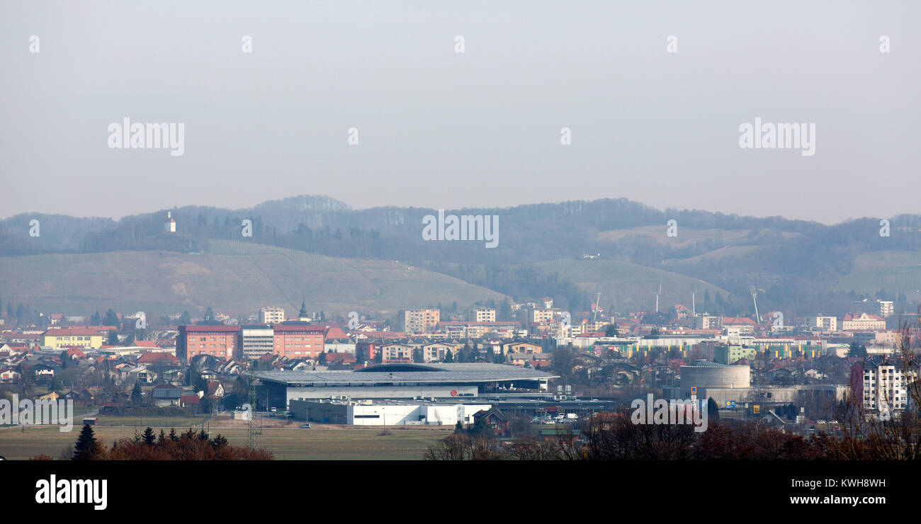 Maribor in Slovenia. The River Drava flows by the city, which is in a wine growing region. - Stock Image