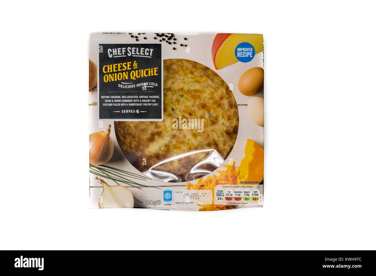 Packet of Lidl 'Chef Select' brand cheese & onion quiche with label showing use by date and ingredients - Stock Image