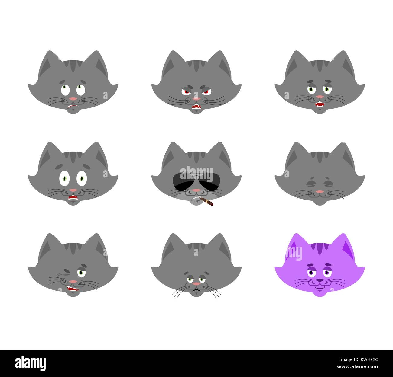 Cat set emoji avatar. sad and angry face. guilty and sleeping. Pet sleeping  emotion face. Kitty Eggplant. Vector illustration 6e72395782f4