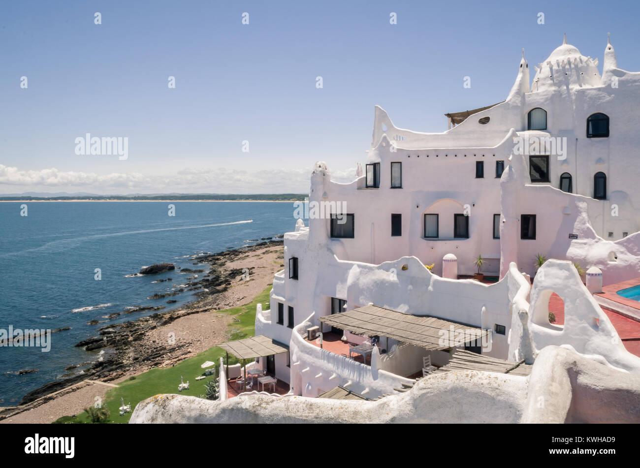 View of the sea from Punta Ballena, Punta del Este Uruguay, Casapueblo. This is a hotel and a gallery art where - Stock Image