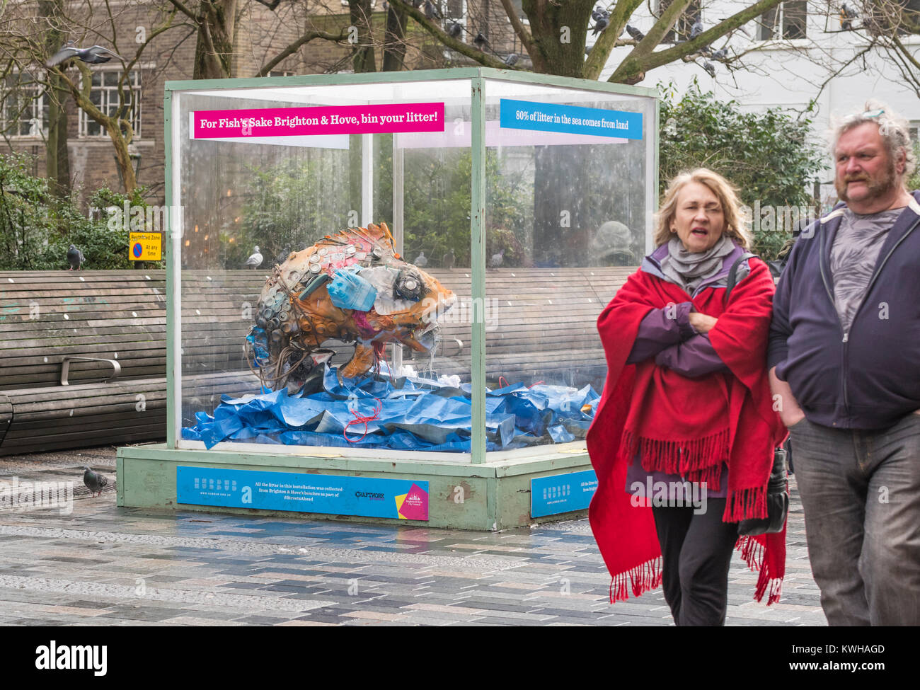 A fish made from litter collected from the beach in Brighton and Hove, on display in Brighton, East Sussex, England, Stock Photo