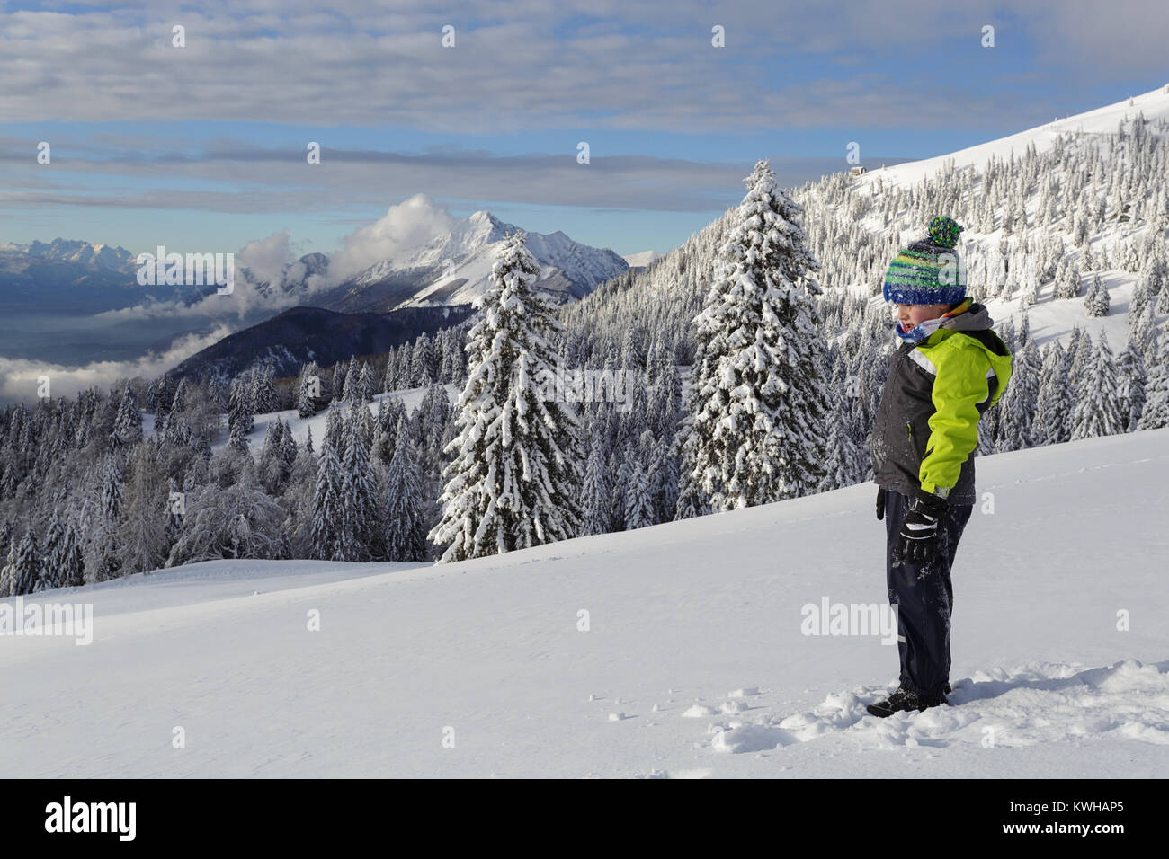 Young boy in snow covered beanie standing in fresh snow on a mountain covered with spruces, Krvavec, Slovenia. - Stock Image