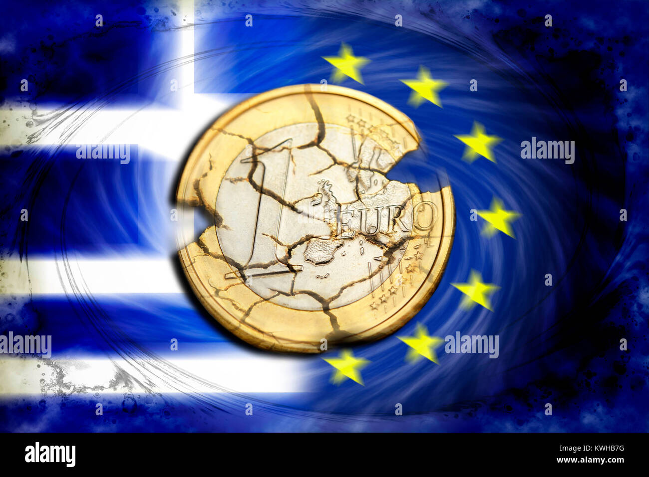 Euro-coin one with tears before Greece and EU flag, symbolic photo Grexit, Ein-Euro-Münze mit Rissen vor Griechenland Stock Photo