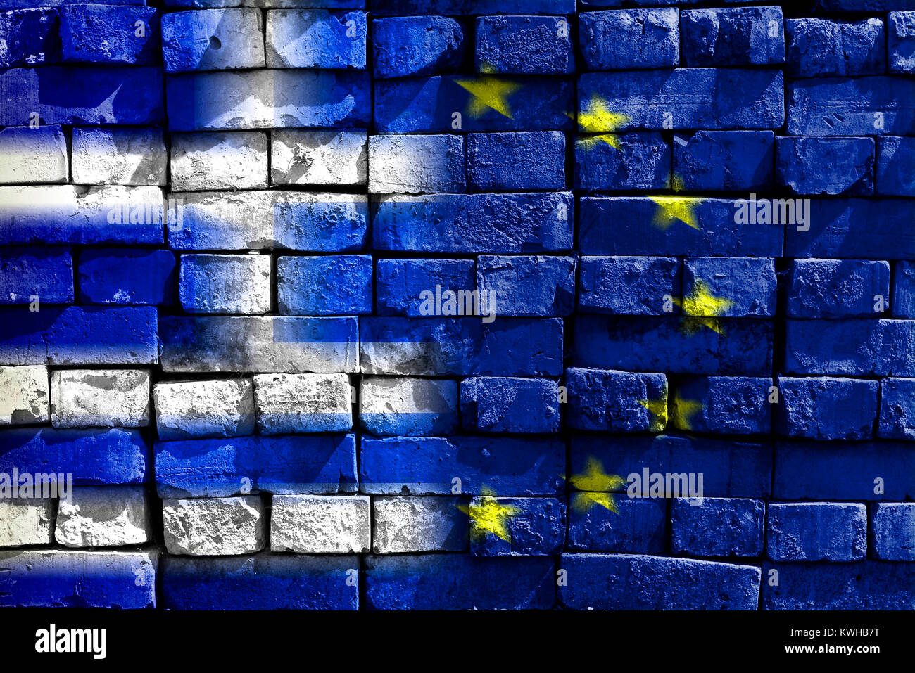 Greece and EU flag on ailing stone wall, symbolic photo Grexit, Griechenland- und EU-Fahne auf maroder Steinmauer, Stock Photo