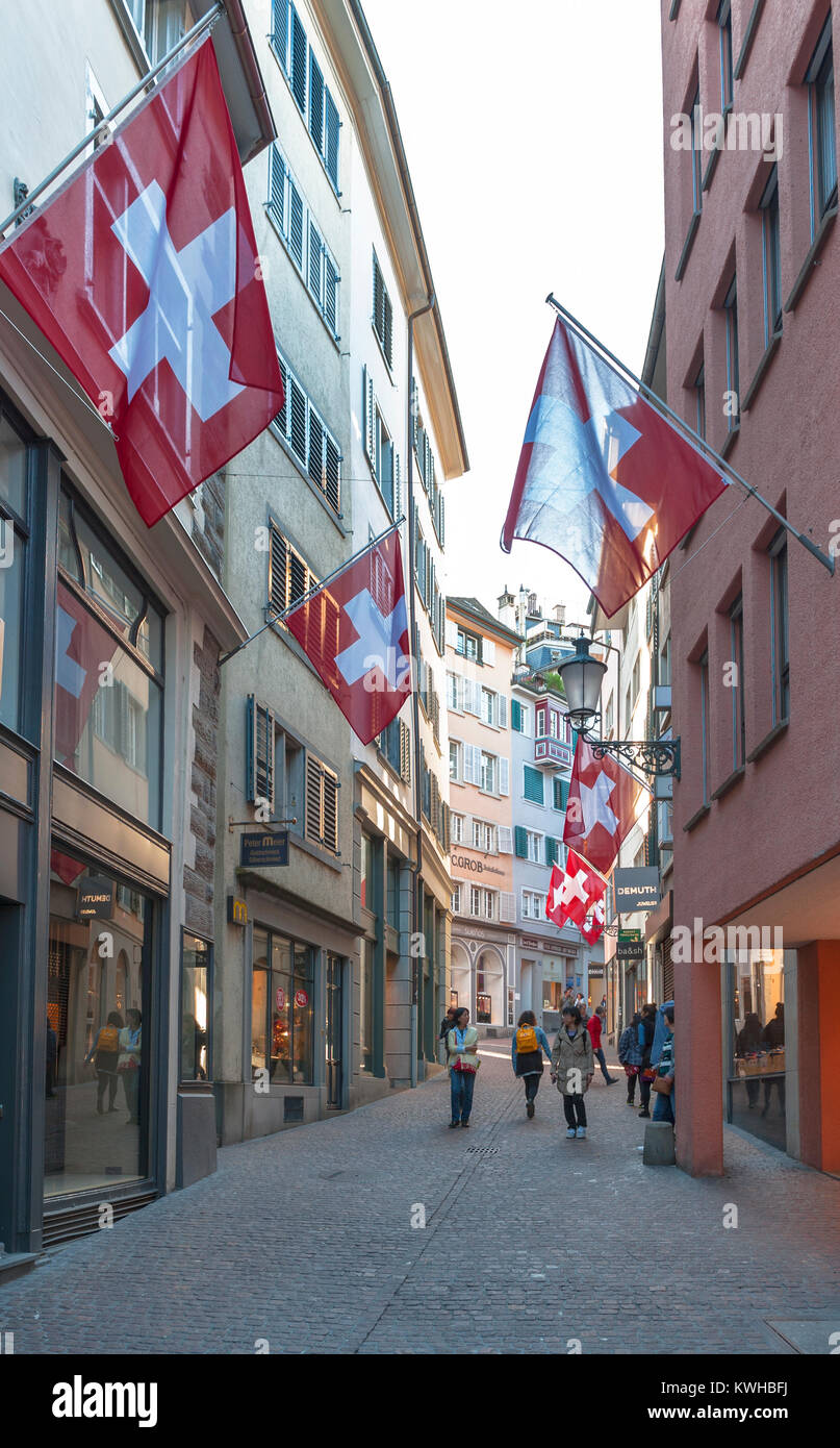 At the streets of Zurich city - Stock Image