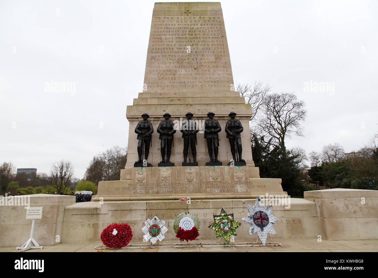 The Guards Division War Memorial at St James's Park in London, England. The cenotaph style memorial was designed - Stock Image