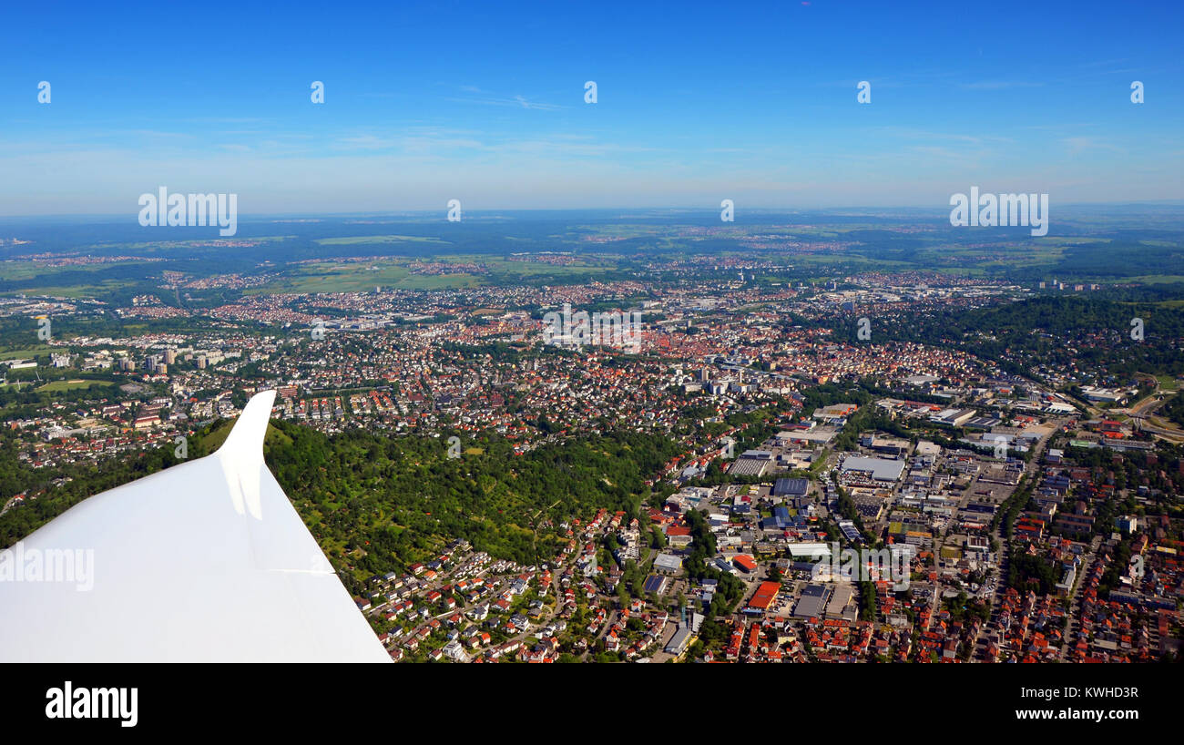 Closer Aerial view of Stuttgart area, south germany on a sunny summer day - Stock Image