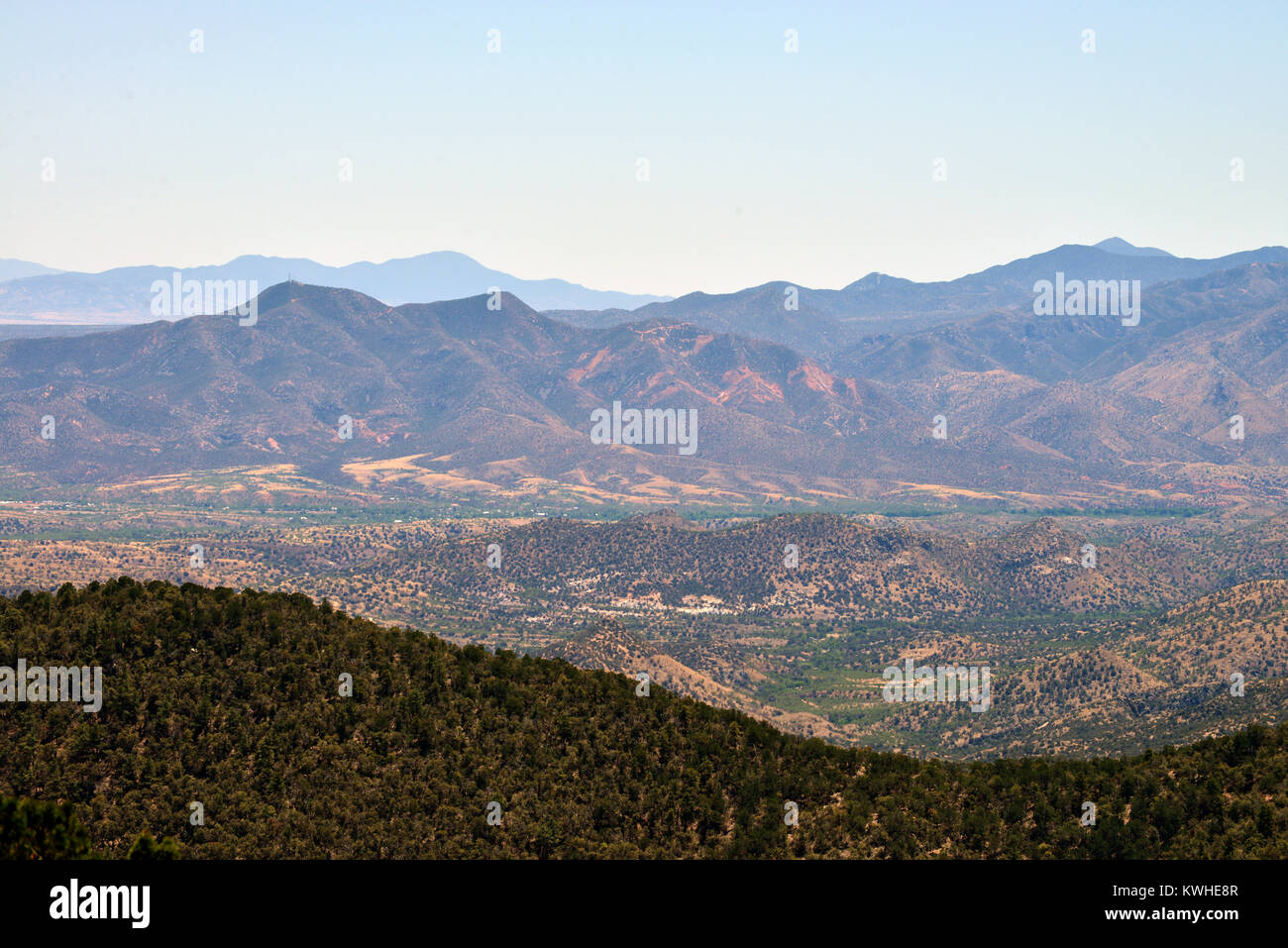 The town of Patagonia, Arizona, and the country of Mexico beyond, are seen from the Gardner Canyon Trail at the - Stock Image
