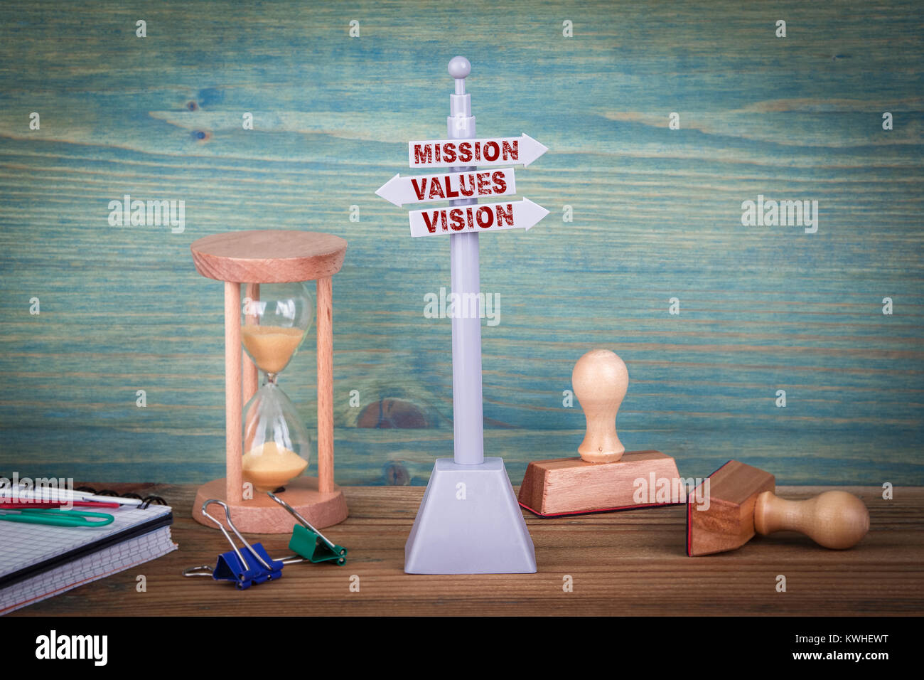 mission values vision. Signpost on wooden table. - Stock Image