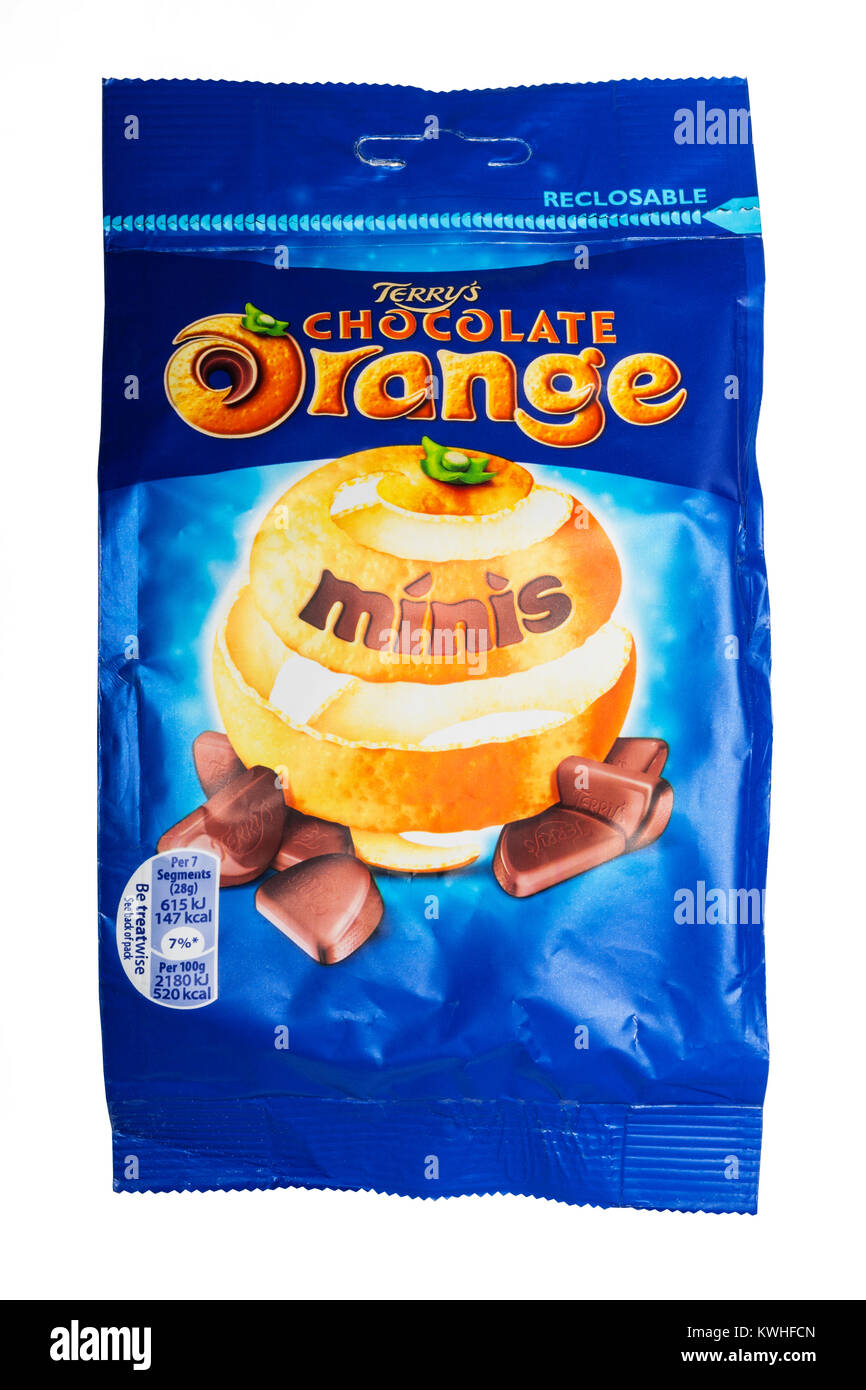 A Packet Of Terrys Chocolate Orange Minis On A White