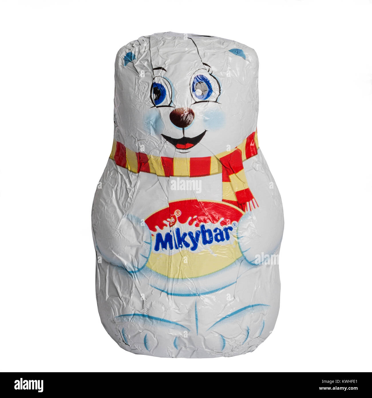 A festive Milky bar white chocolate polar bear on a white background - Stock Image