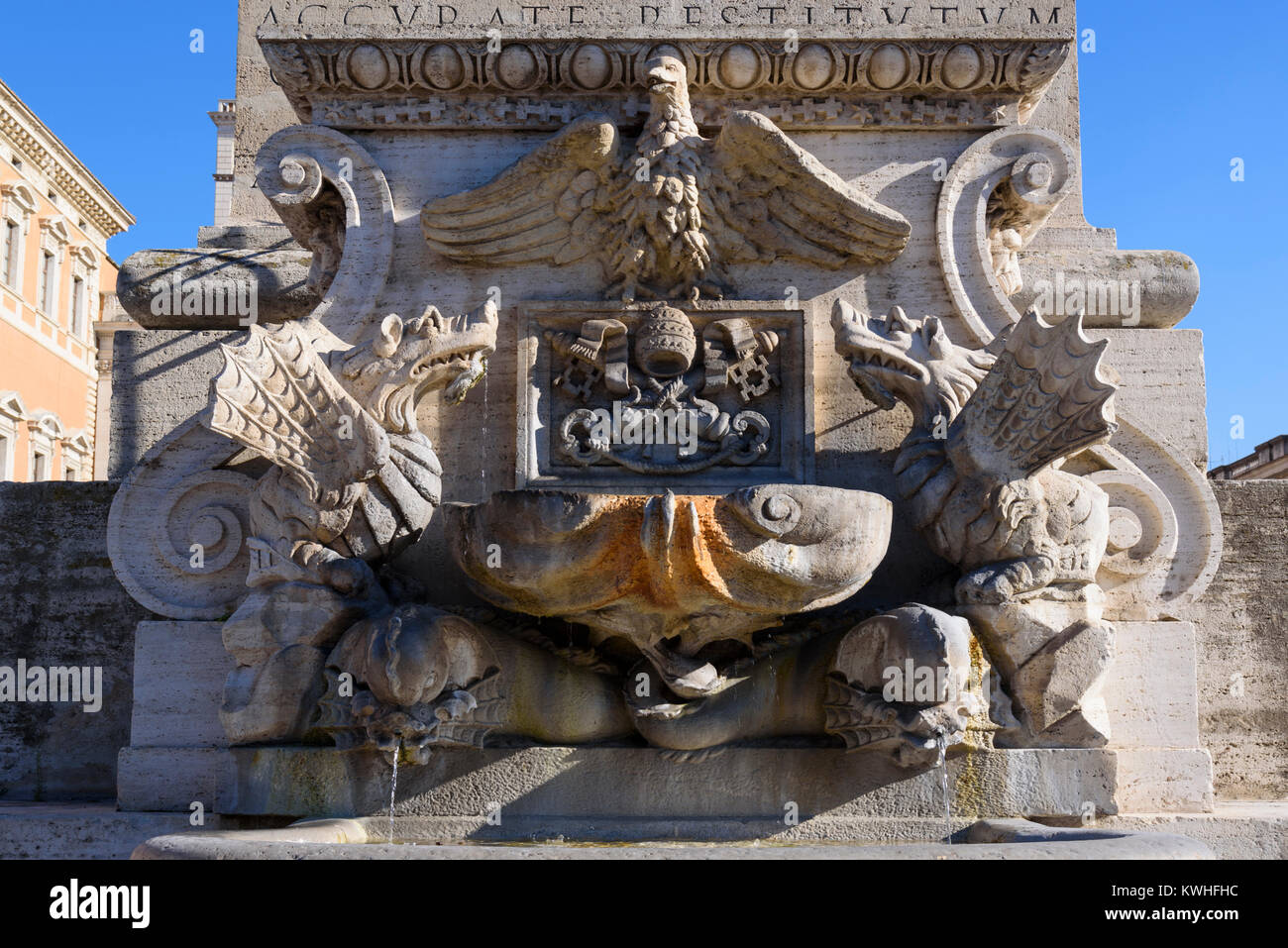 Fountain of the Lateran Obelisk in Saint John, Rome, Lazio, Italy - Stock Image