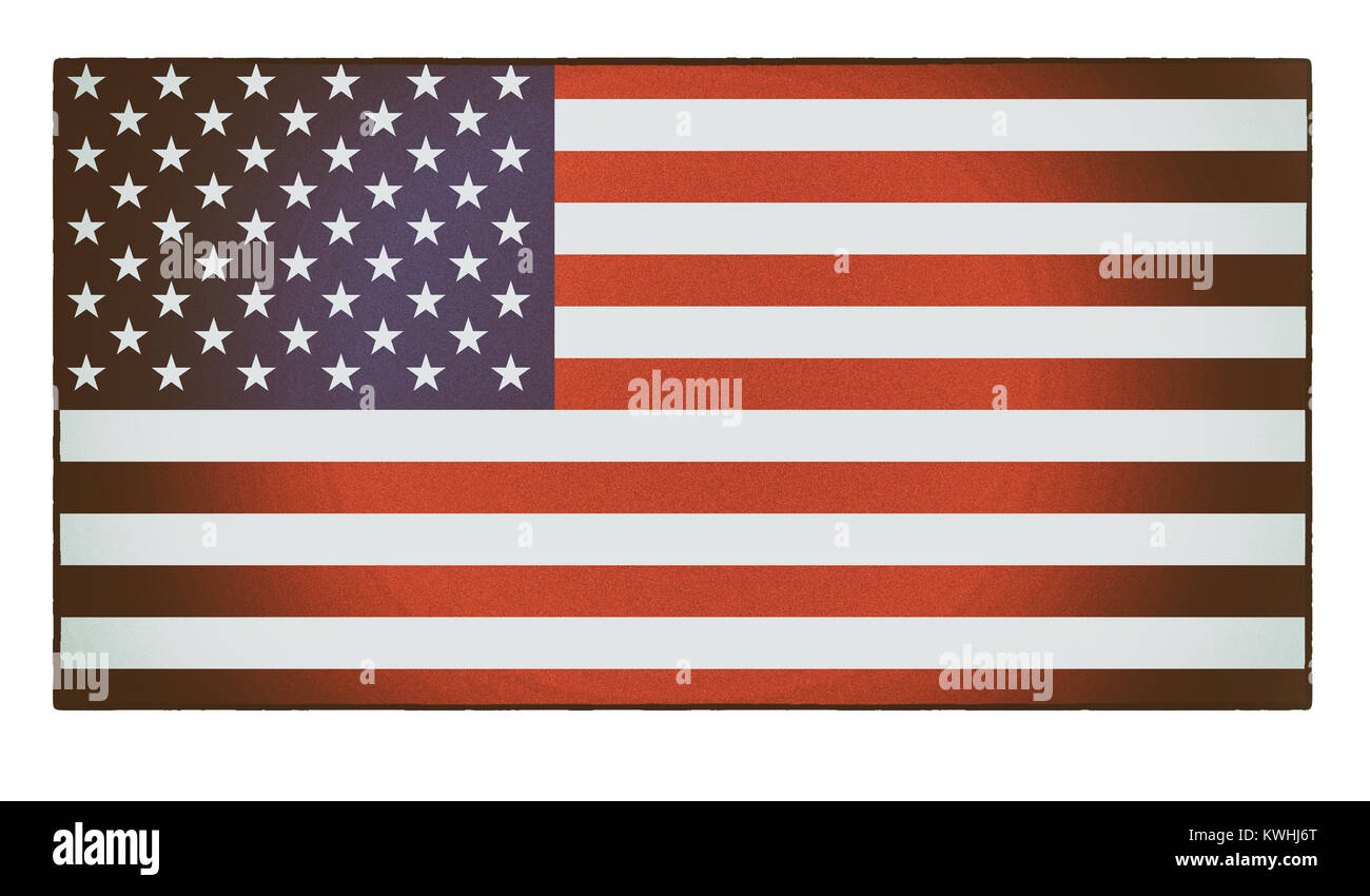 An old, faded, vintage American flag, the stars and stripes - Stock Image