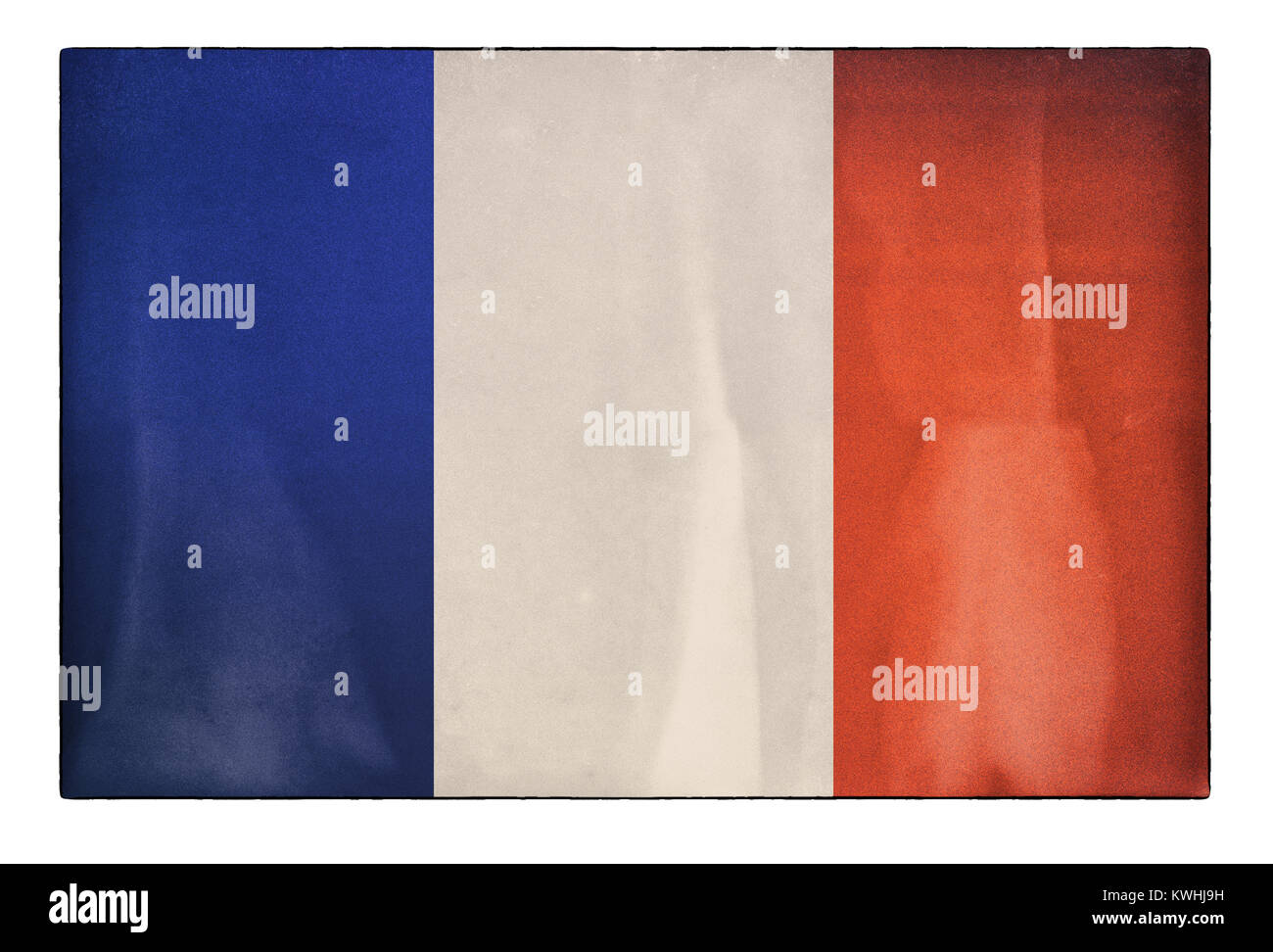 An old, distressed French flag - Stock Image