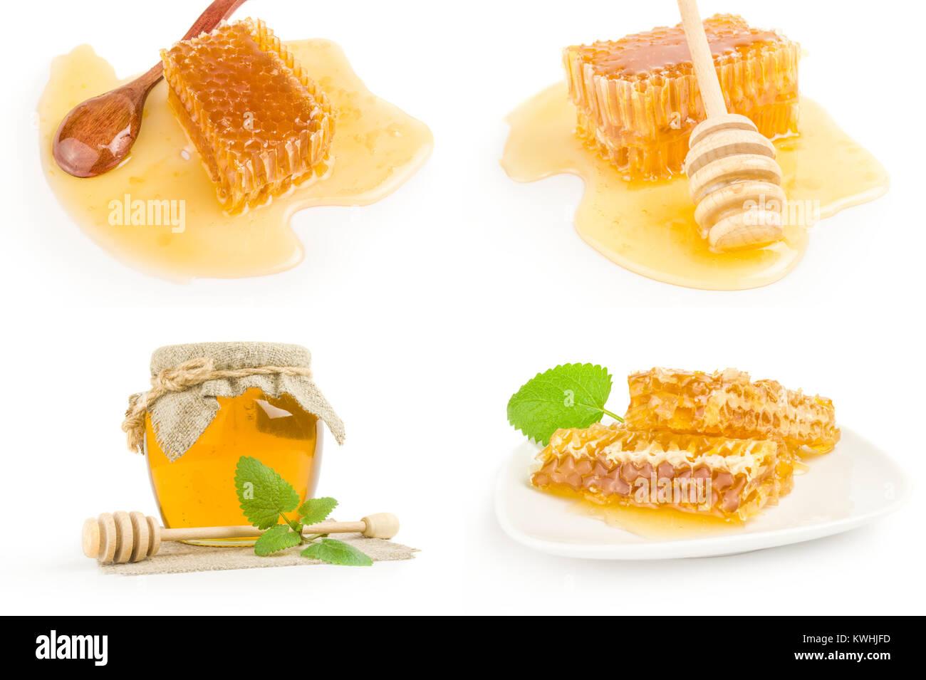 Set of honey on white - Stock Image