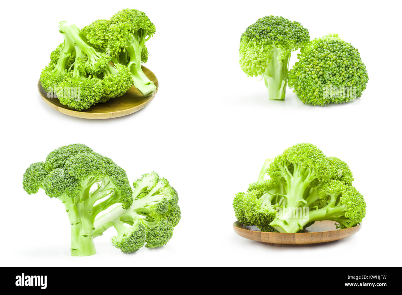 Set of fresh green broccoli isolated over a white background Stock Photo