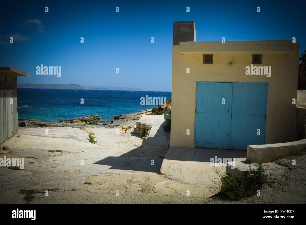 Gozo has a walking, hiking path around all of its coast giving stunning views out to sea, inland, passing forts, Stock Photo