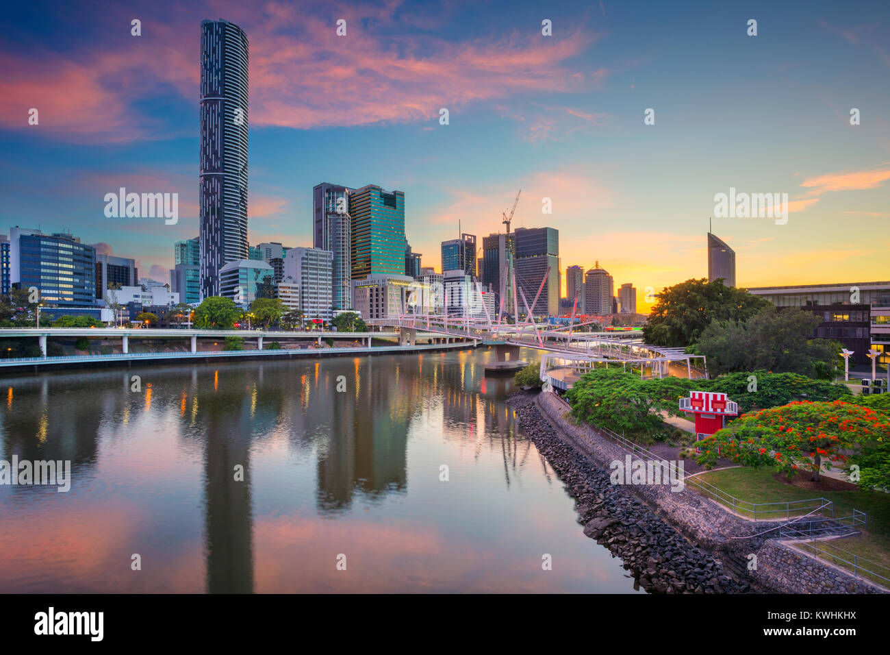 Brisbane. Cityscape image of Brisbane skyline, Australia during dramatic sunrise. - Stock Image