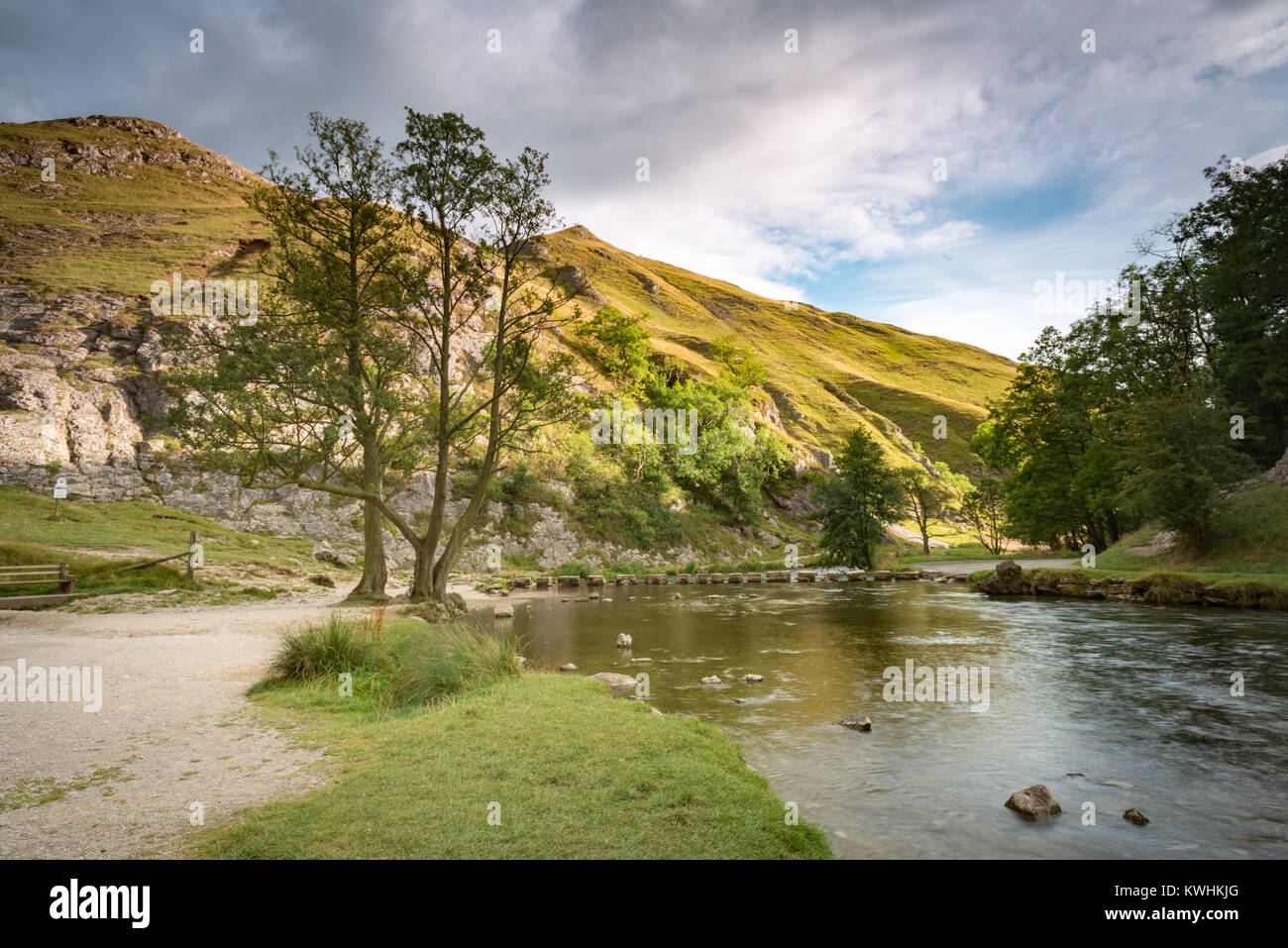 The stepping stones at Dovedale National Nature Reserve in the Peak District, Derbyshire - Stock Image