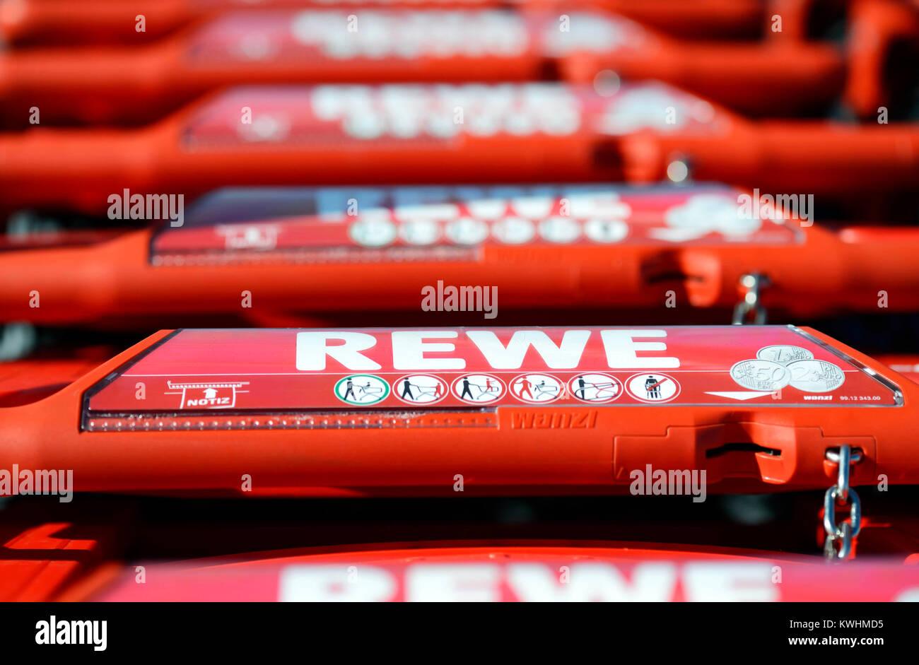 Shopping carts of Rewe, Einkaufswagen von Rewe - Stock Image