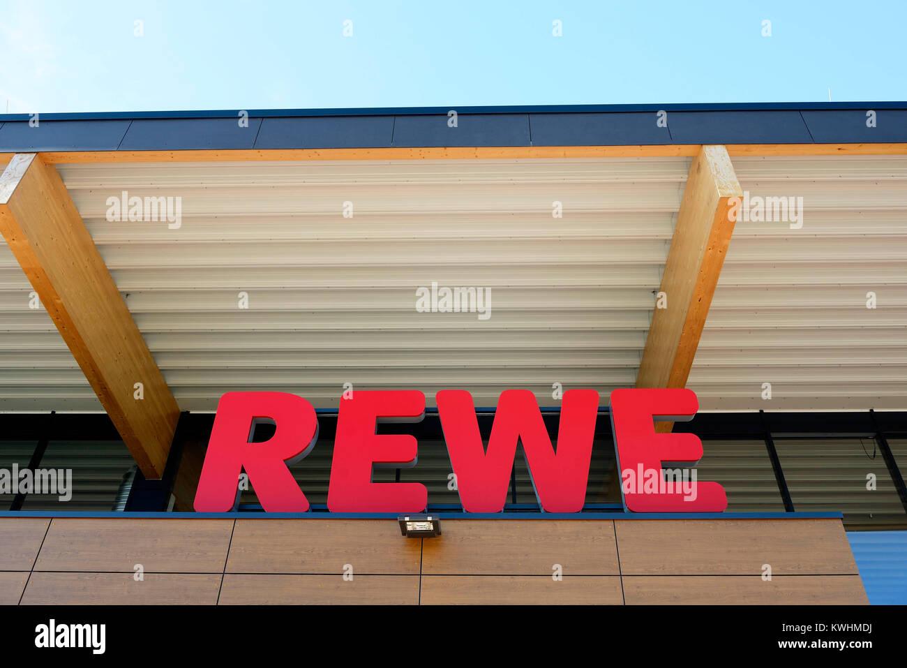 Rewe supermarket, Rewe Supermarkt - Stock Image