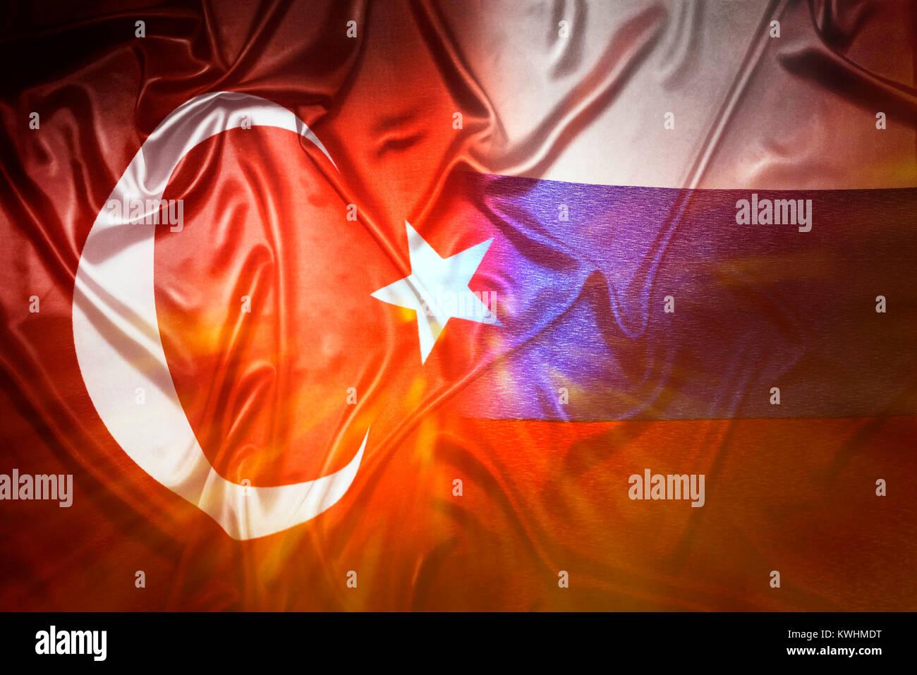 Flags of Turkey and Russia, Fahnen von Tuerkei und Russland Stock Photo
