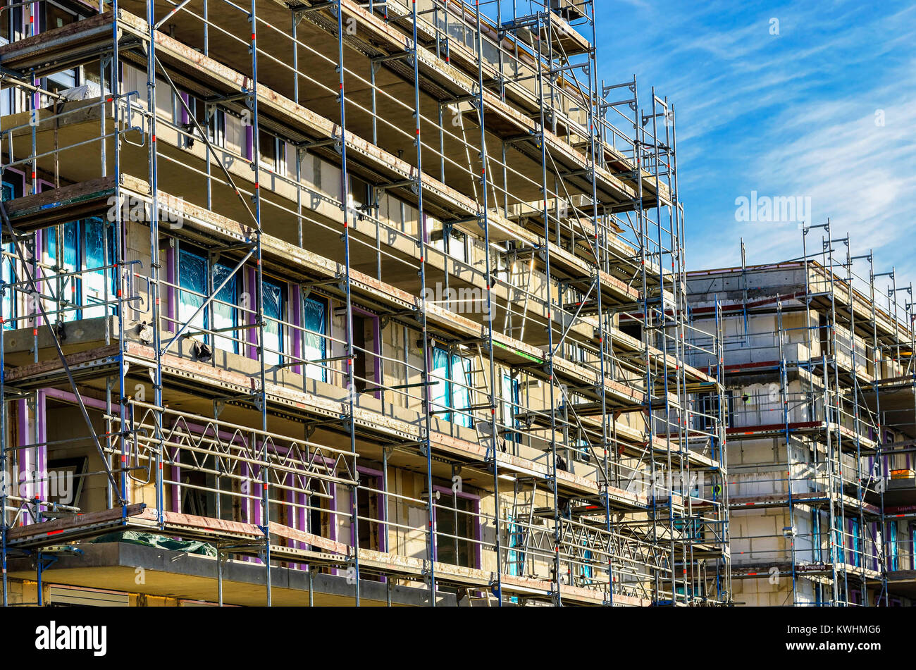 Publicly promoted house building in Hamburg, Germany, Öffentlich gefoerderter Wohnungsbau in Hamburg, Deutschland - Stock Image