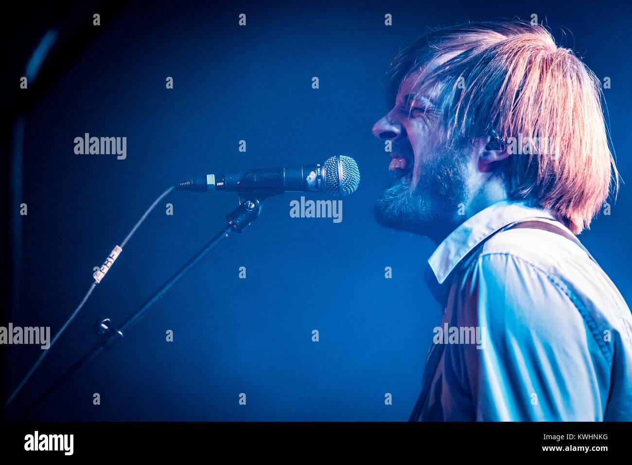 The Danish experimental rock band Vola performs a live concert at Forbrændingen near Copenhagen. Here vocalist - Stock Image