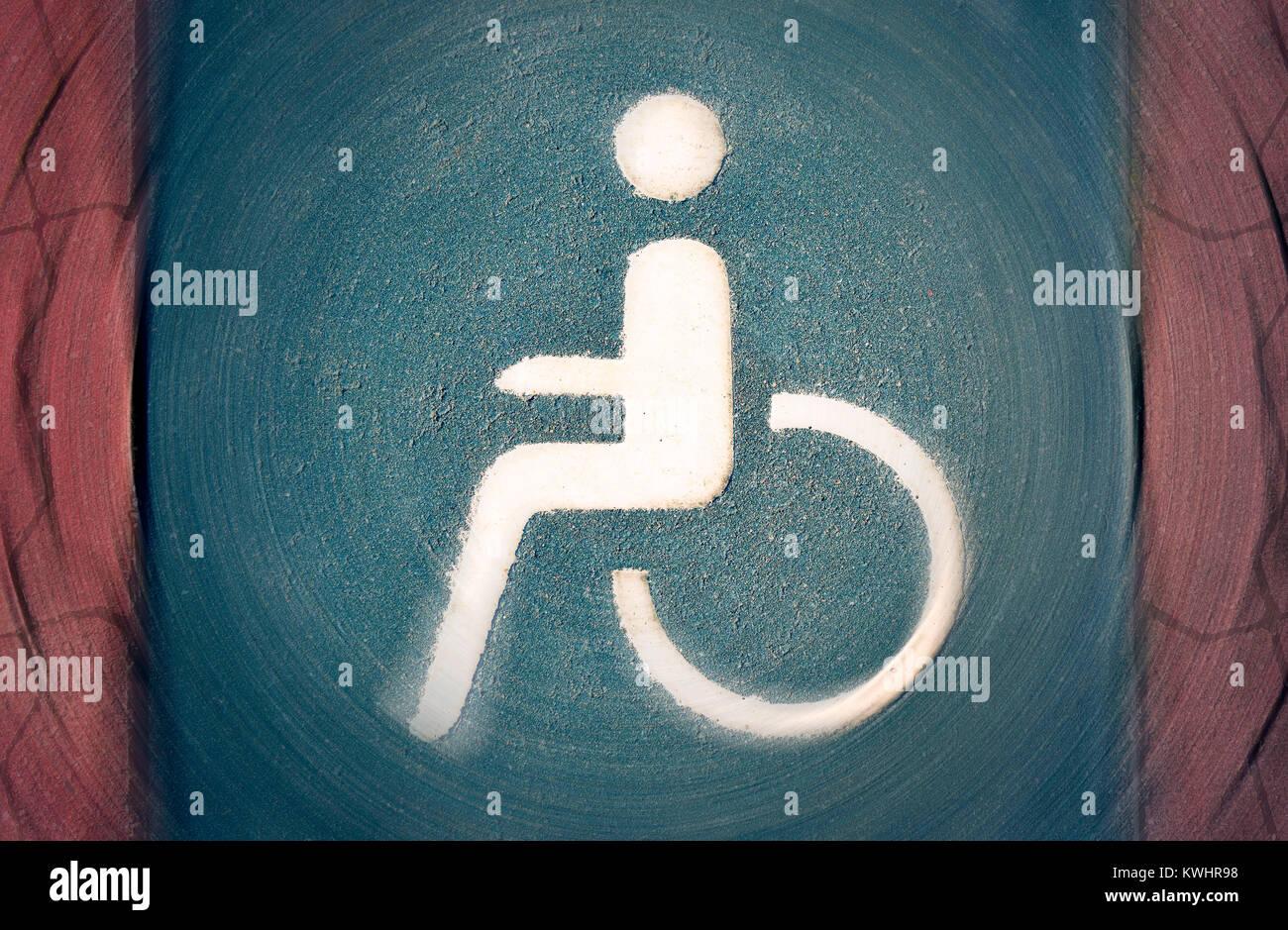 Parking space for the disabled, impediment, Behindertenparkplatz, Behinderung Stock Photo
