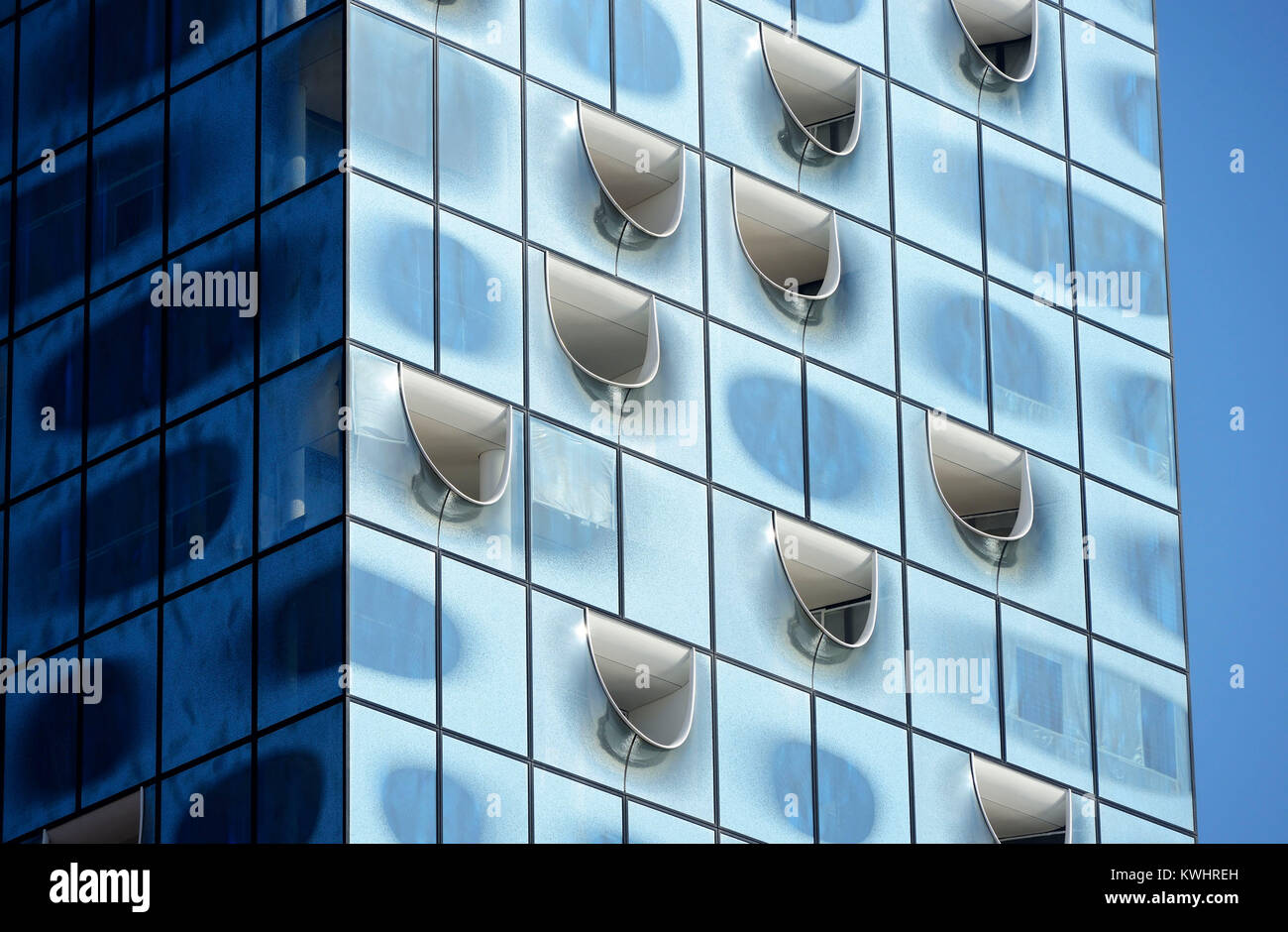 Facade of the Elbphilharmonie in Hamburg, Germany, Europe, Fassade der Elbphilharmonie in Hamburg, Deutschland, - Stock Image