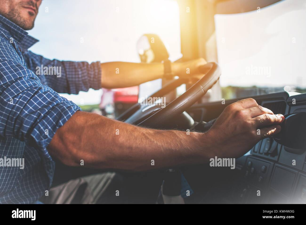Semi Truck Driver Job. Caucasian Trucker Preparing For Long Haul Shipping. - Stock Image