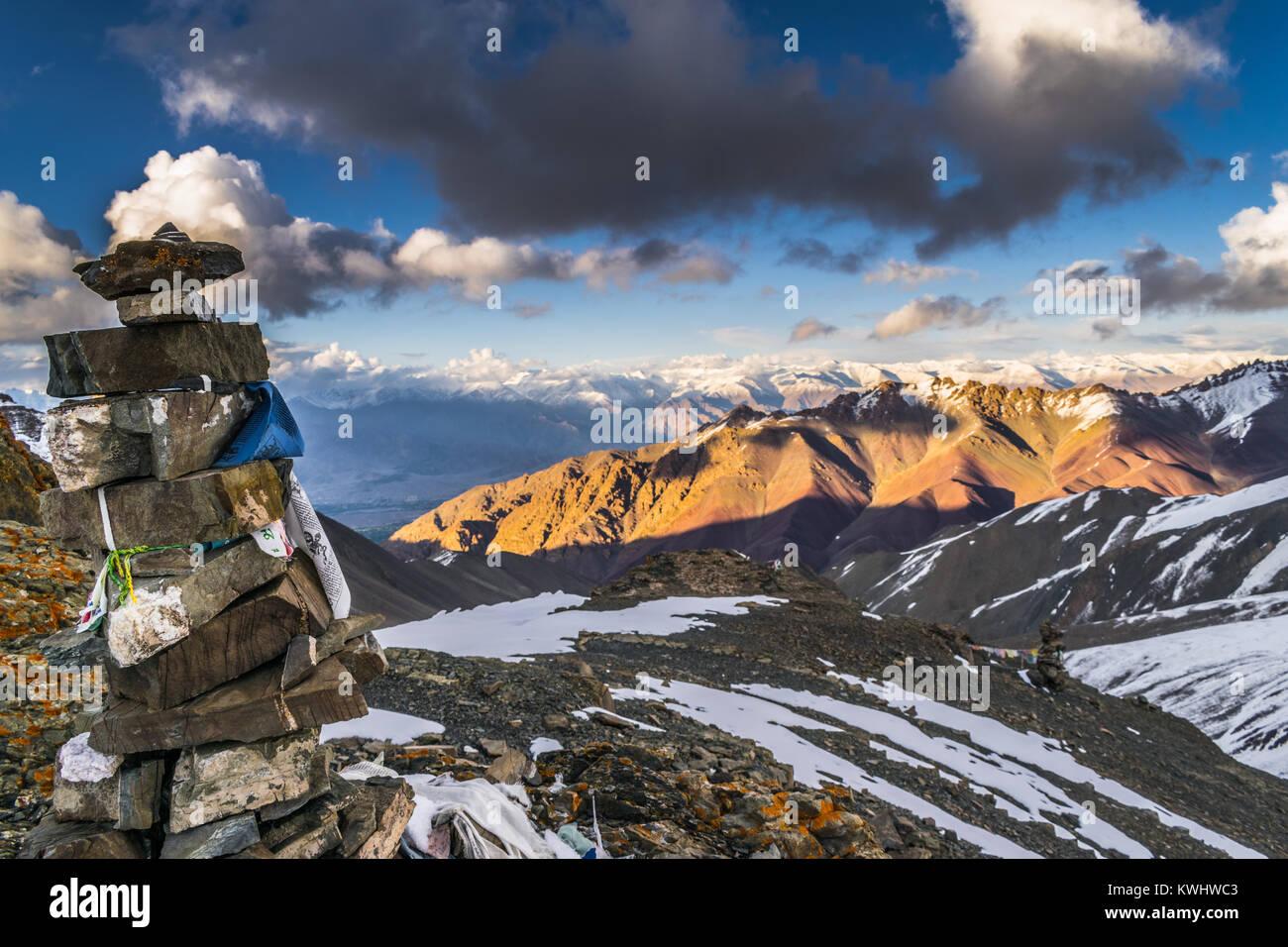 Snow-capped mountains of Karakoram as seen from Zanskar mountains, Ladakh - Stock Image