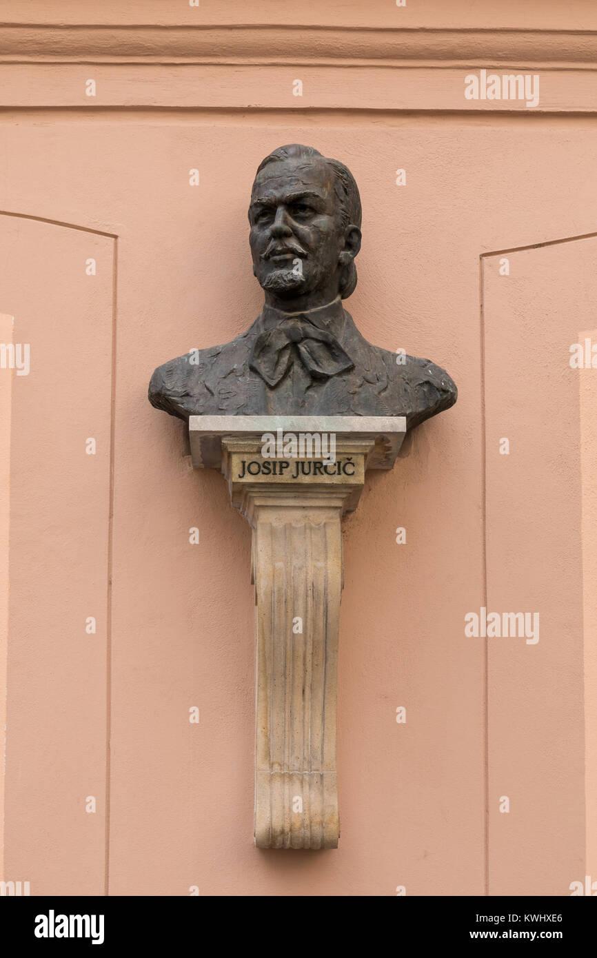 Bust of famous Slovene writer Josip Jurcic - Ljubljana, Slovenia Stock Photo