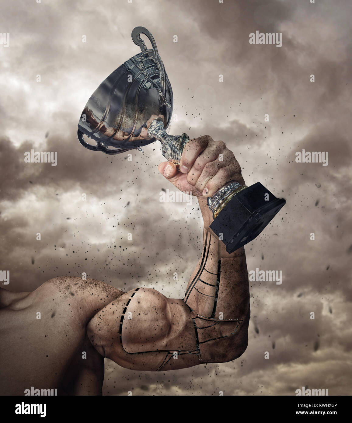 Human arm prosthesis with winner cup. - Stock Image