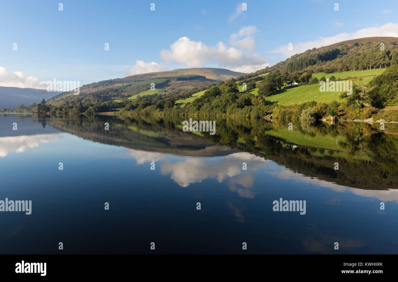 An image of beautiful Welsh countryside shot at Talybont-On-Usk reservoir, Wales, UK - Stock Image