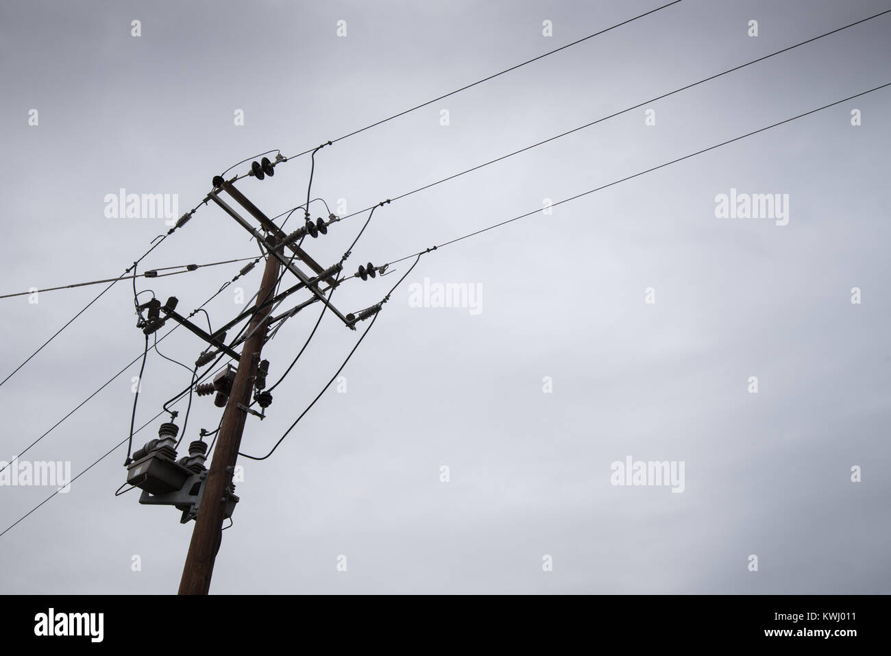 Electricity power pylon with electric wires transferring electrical ...
