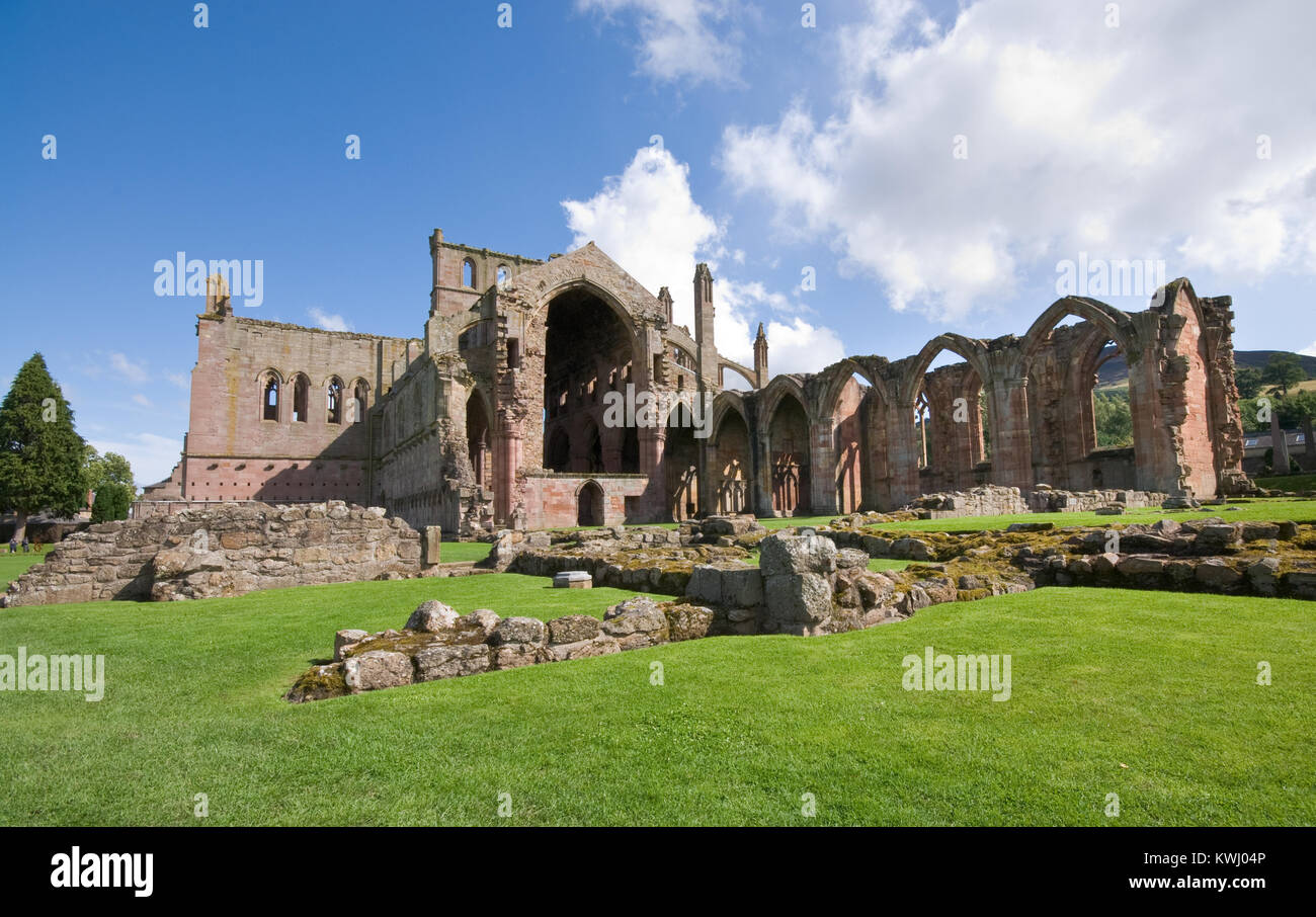 Ruins of the famous St Mary Abbey at  Melrose village in , Scotland - Stock Image