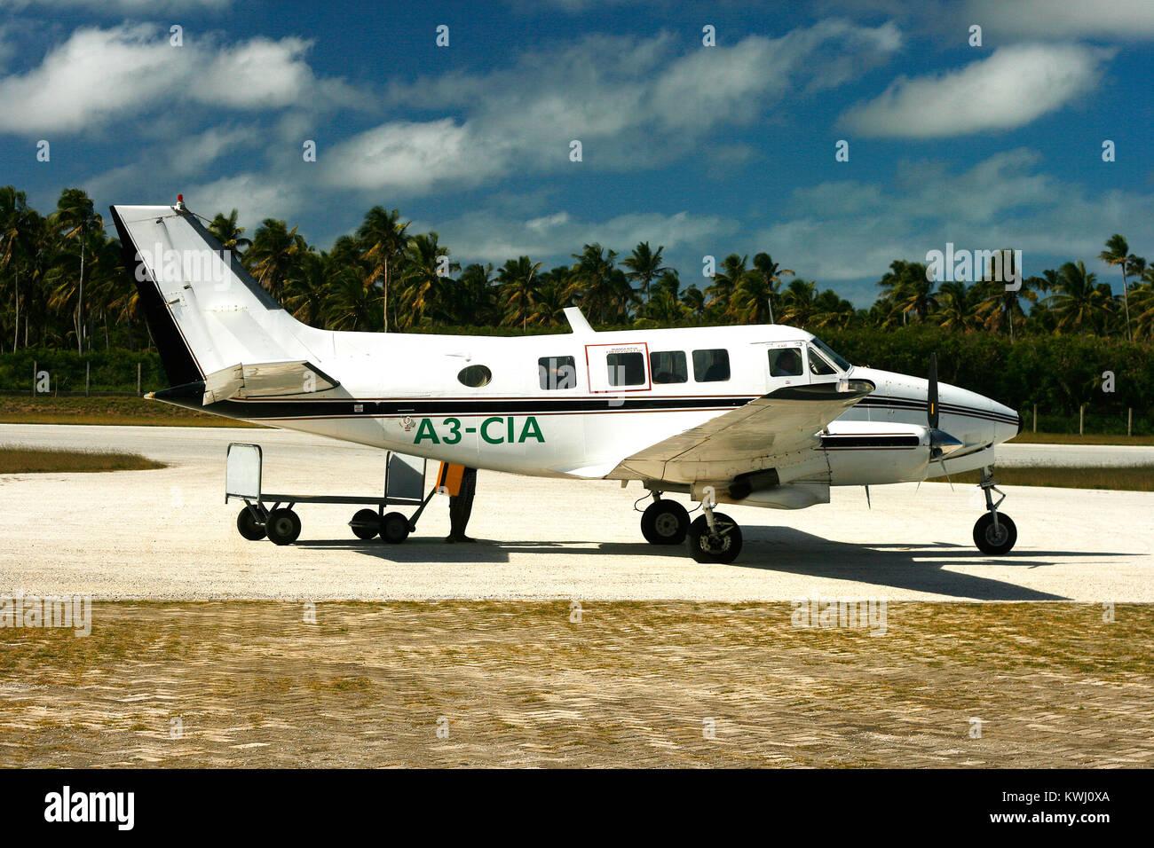 Light aircraft on runway. Lifuka island. Ha´a pai islands. Tonga - Stock Image