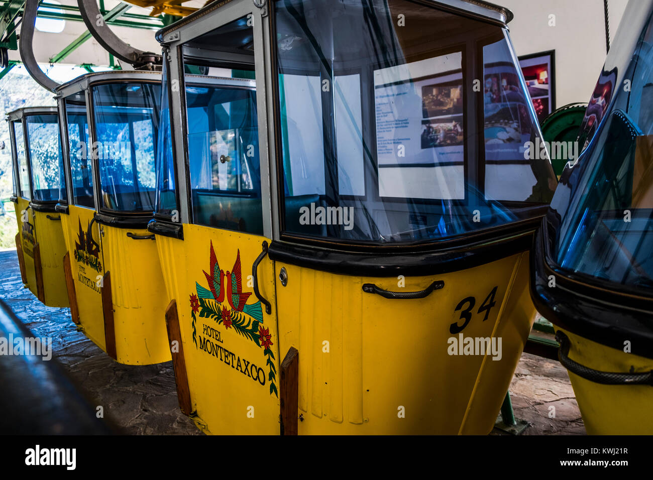 Cable car from Hotel Monte taxco to the town. Taxco, Guerrero, Mexico. - Stock Image