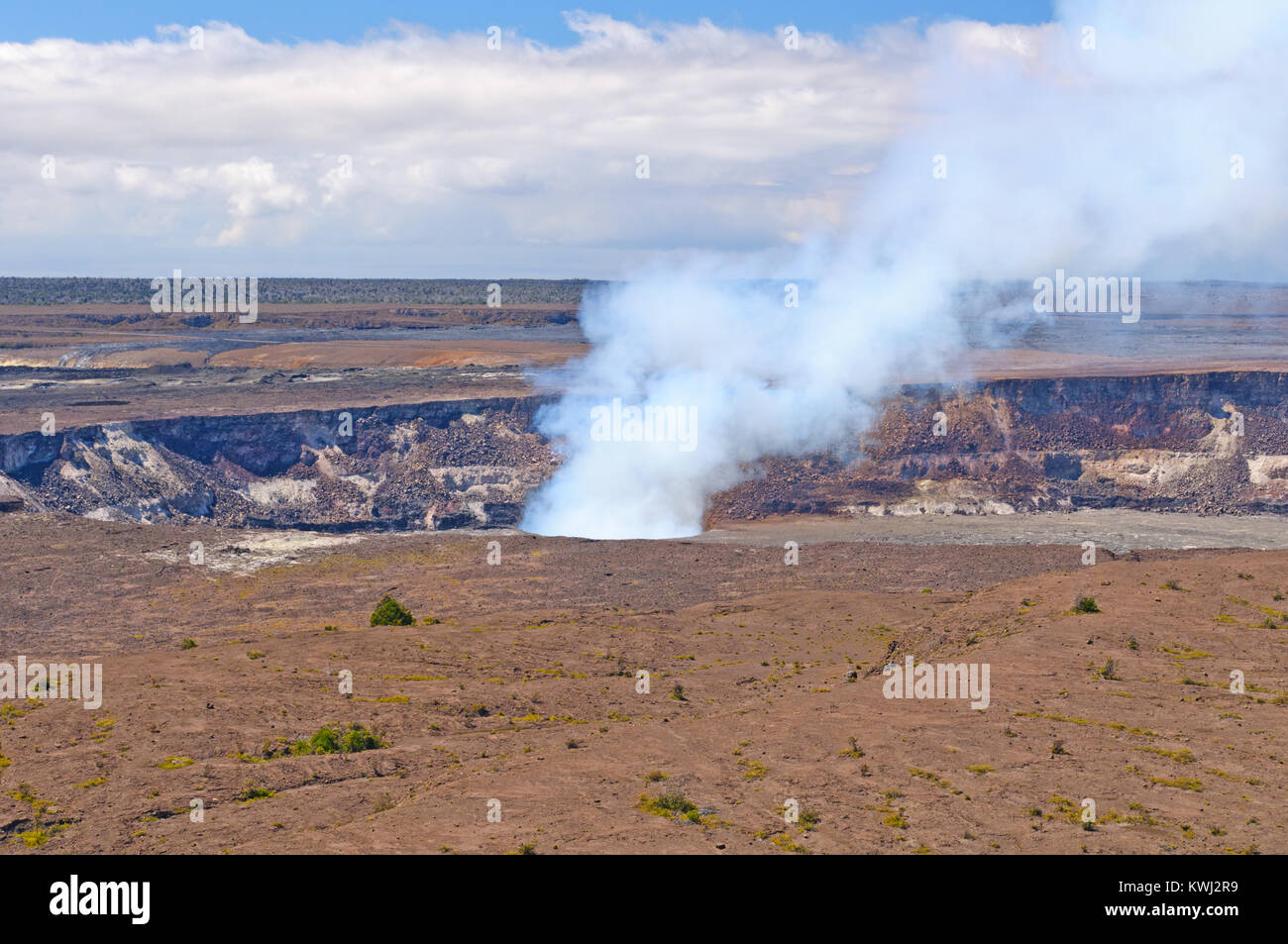 Steam on the Halema`uma`u Crater of the Kilauea Volcano - Stock Image