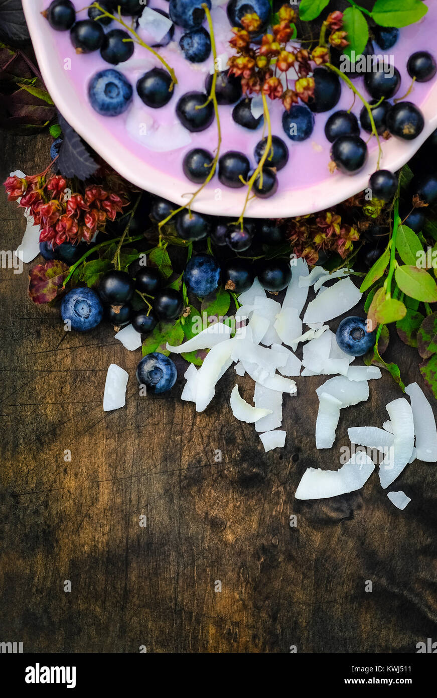 Vitamins for a day of healthy breakfast berry  yogurt, coconut chips and fresh blueberries and black currants - Stock Image
