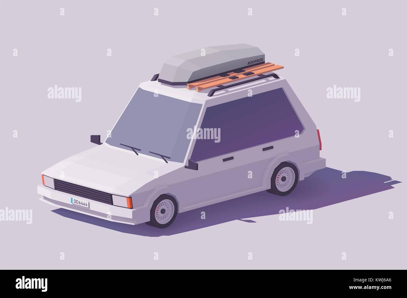 Vector low poly estate car - Stock Vector