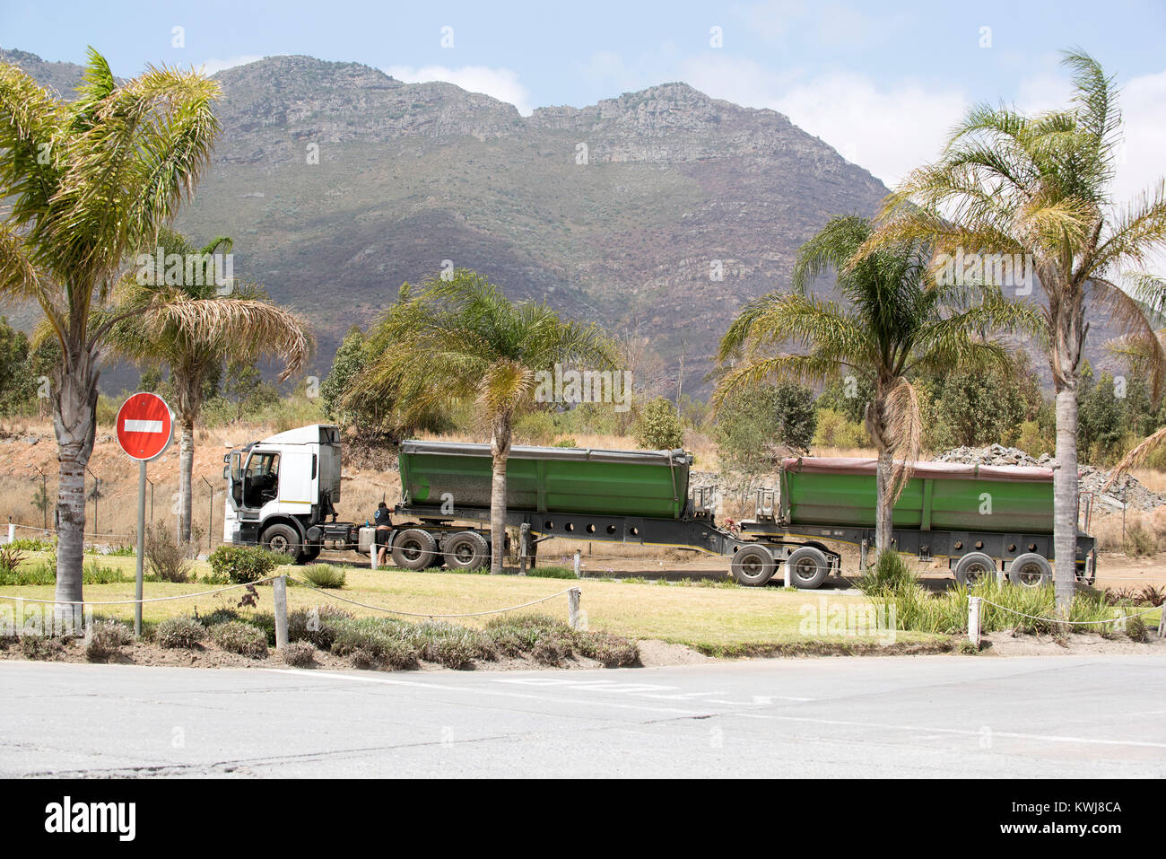 Riebeek West Western Cape South Africa. December 2017. Haulage truck carrying a load of cement being checked by - Stock Image
