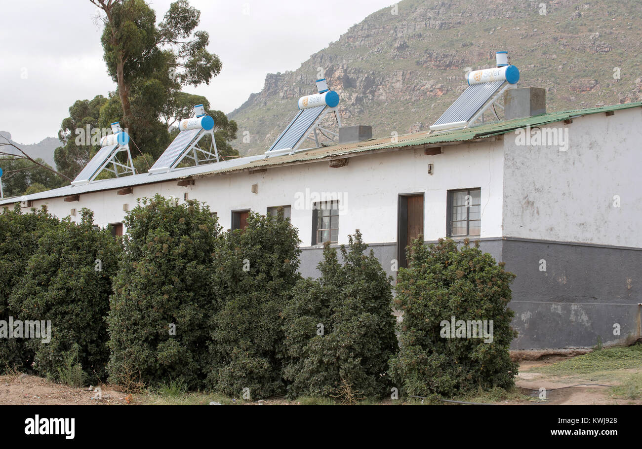 Reibeek West in the Swartland region of the Western Cape South Africa. December 2017. Farm workers cottages with - Stock Image