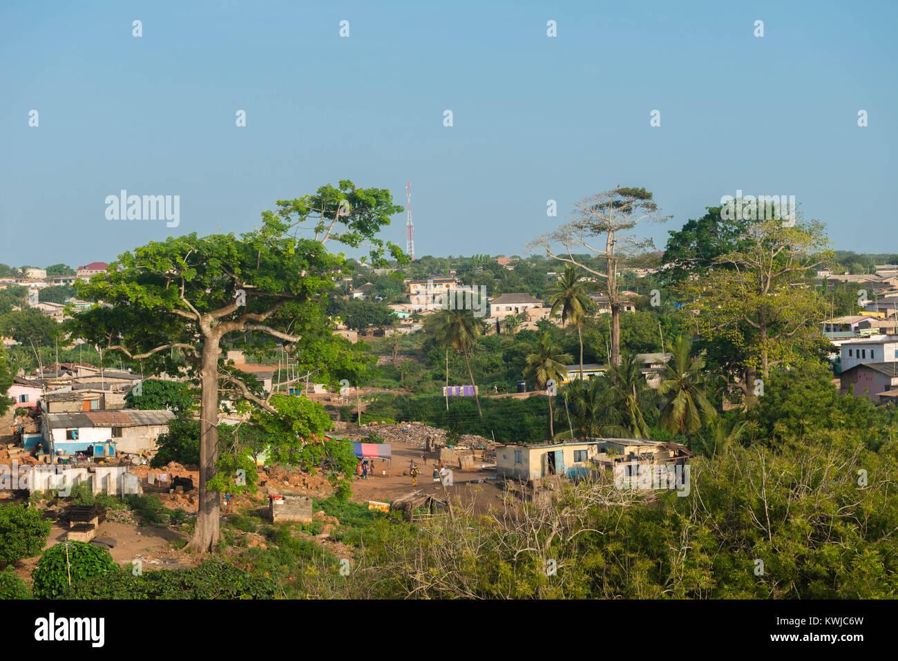 Small town of Senya Beraku, Gold Coast, Central Region, Ghana, Africa - Stock Image