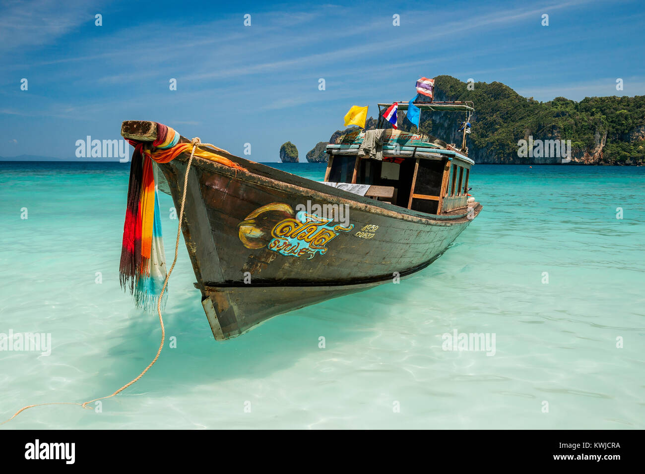 Thailand : long tail boat in Lodalum bay (Koh Phi Phi Don) Stock Photo